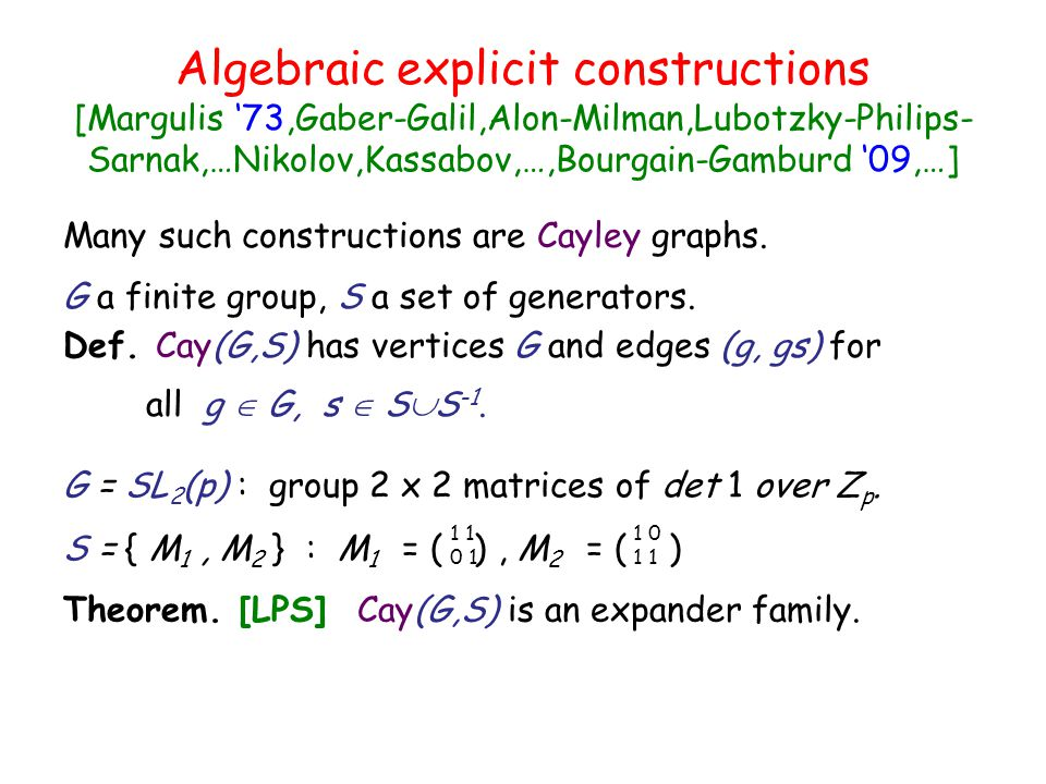 Algebraic explicit constructions [Margulis '73,Gaber-Galil,Alon-Milman,Lubotzky-Philips-Sarnak,…Nikolov,Kassabov,…,Bourgain-Gamburd '09,…]